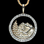 7/8 inch14kt, Yellow & White Gold Pendant with 1Ct Diamonds Including chain, ID# 1dp 3889