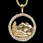 3/4 inch14kt, Yellow Gold Pendant with .33Ct Diamonds including chain, ID #1dp 3895