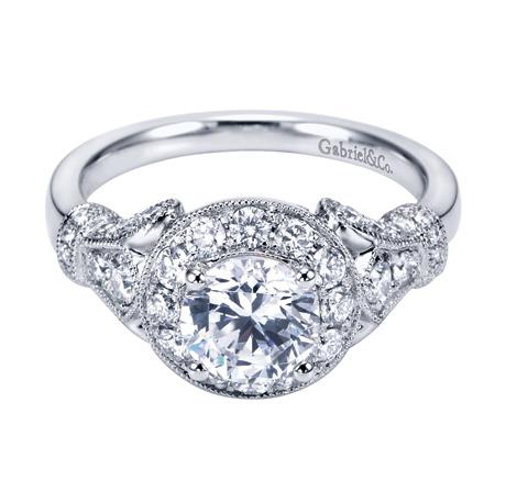 Style ER7478W44JJ 14K White Gold Vintage Halo Engagement Ring