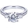 14K White Gold Contemporary 3 Stone Engagement Ring Style ER7476W44JJ