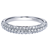 14k White Gold Contemporary Style Straight Wedding Band Diamond