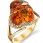 Fire Opal & Diamond Slice Ring